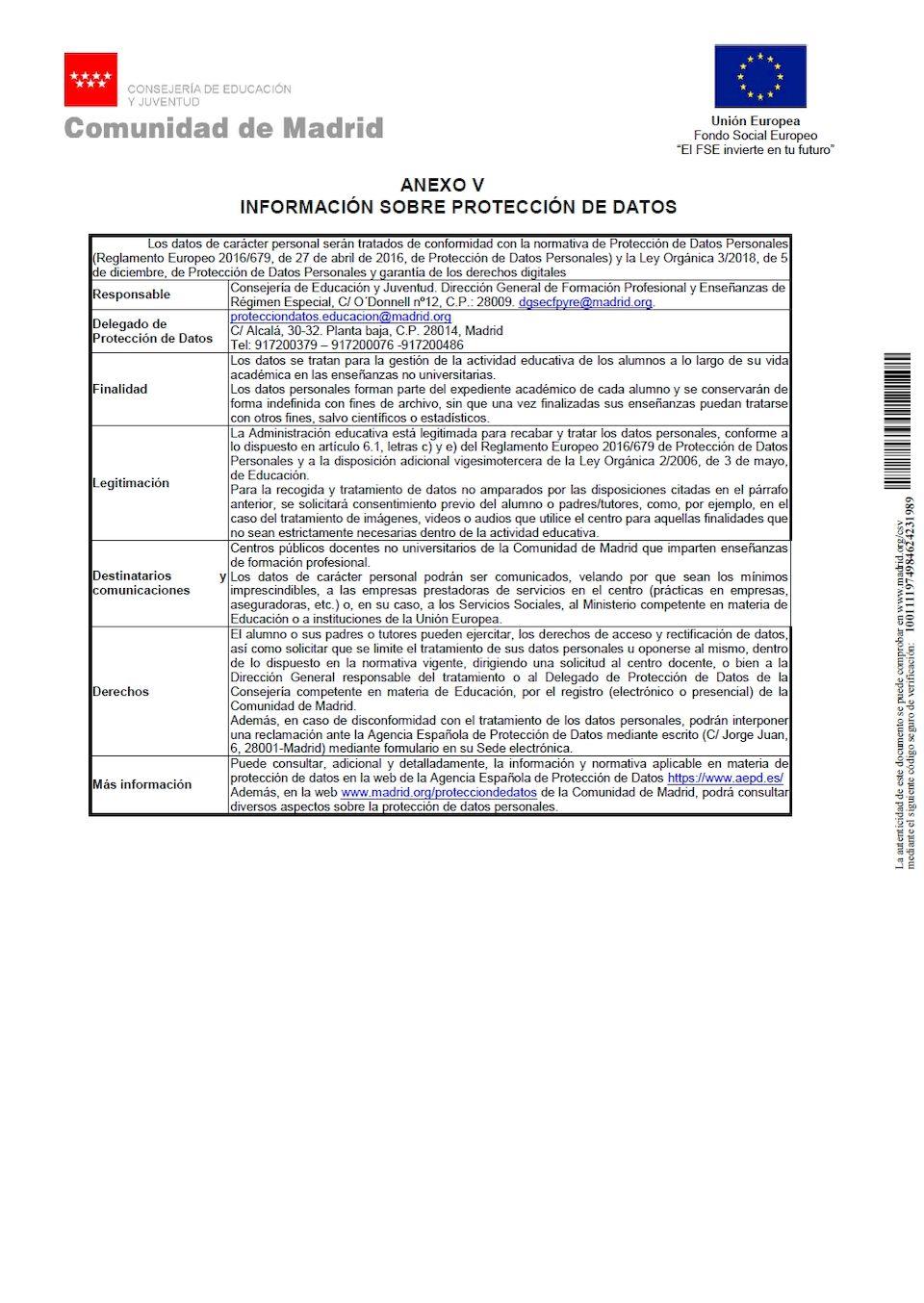 CFGM - Información sobre protección de datos