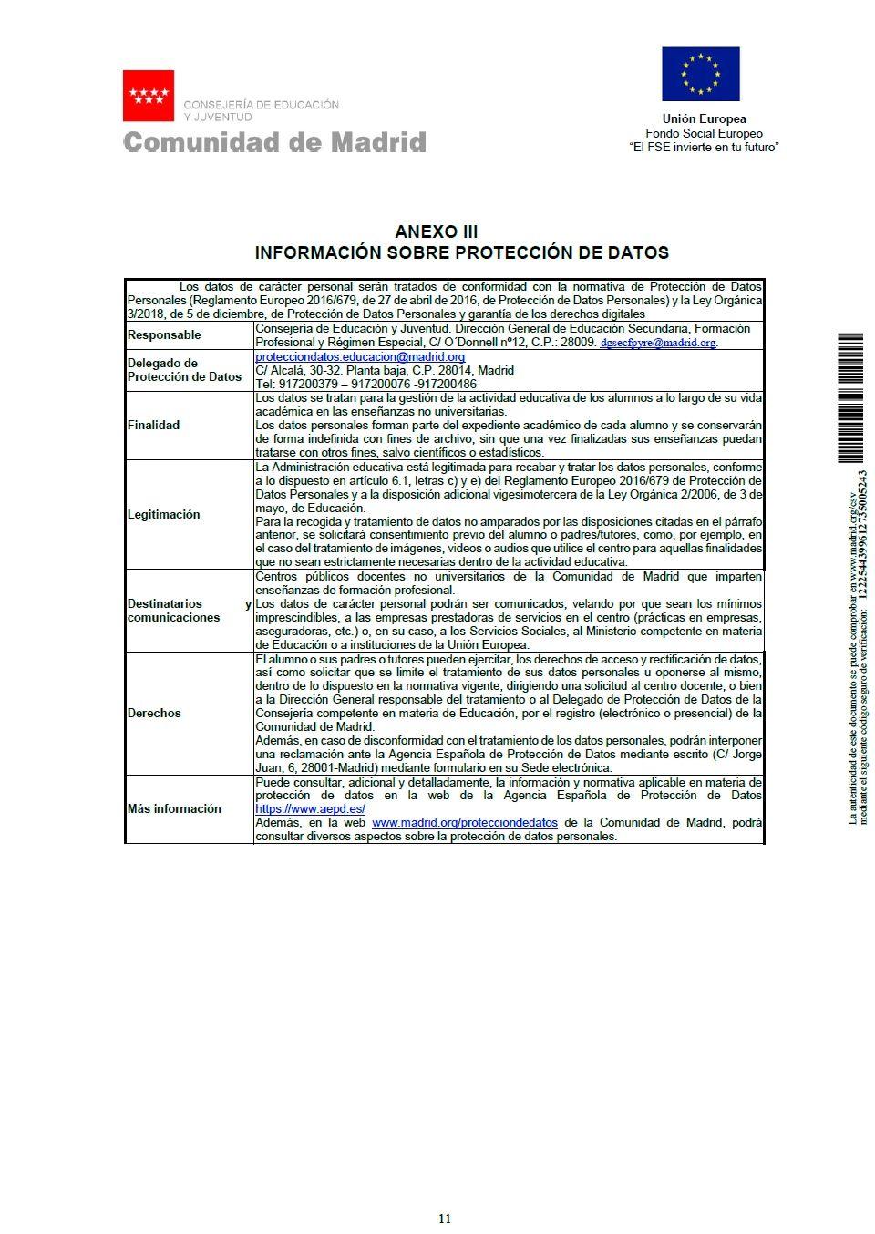 FPB Anexo III - Información sobre protección de datos